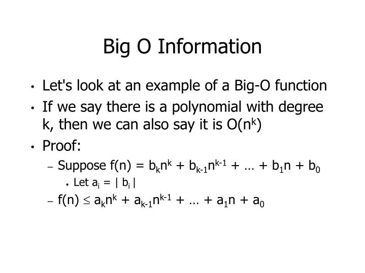 Big O Information
