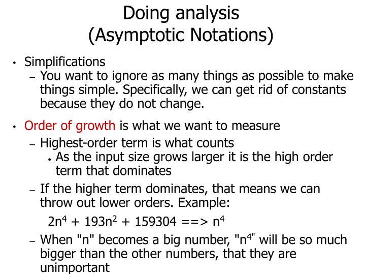 Doing analysis asymptotic notations