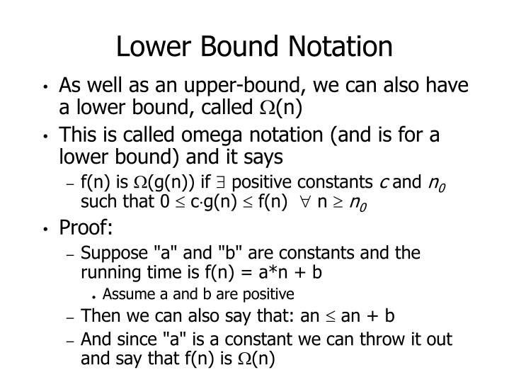 Lower Bound Notation