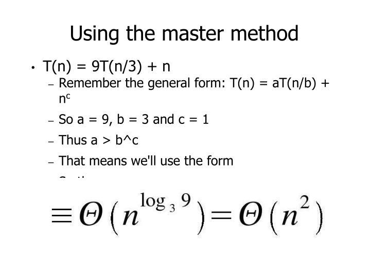 Using the master method