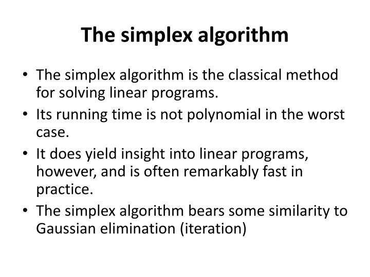 the simplex algorithm n.
