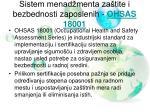 sistem menad menta za tite i bezbednosti zaposlenih ohsas 18001