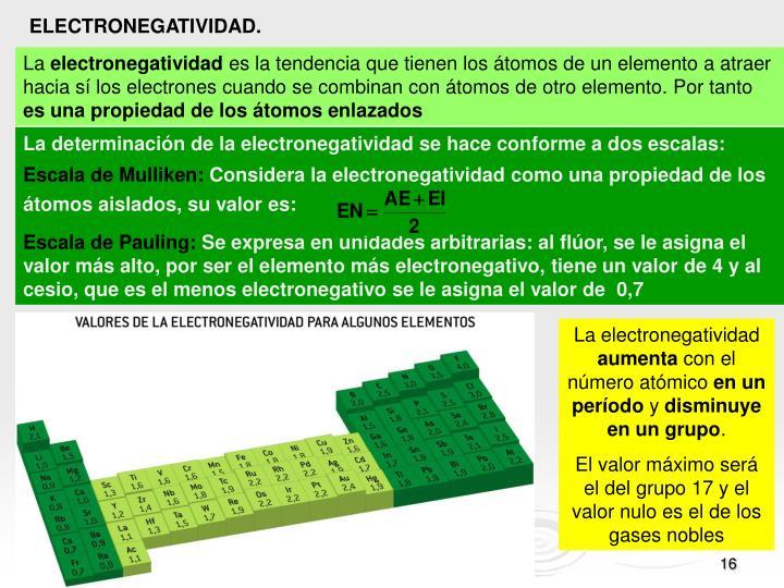 La determinación de la electronegatividad se hace conforme a dos escalas: