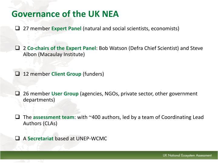 Governance of the UK NEA