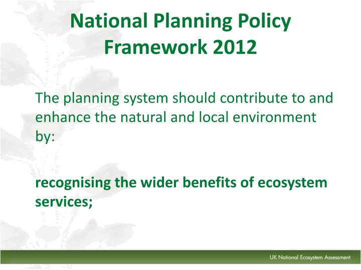 National Planning Policy Framework 2012