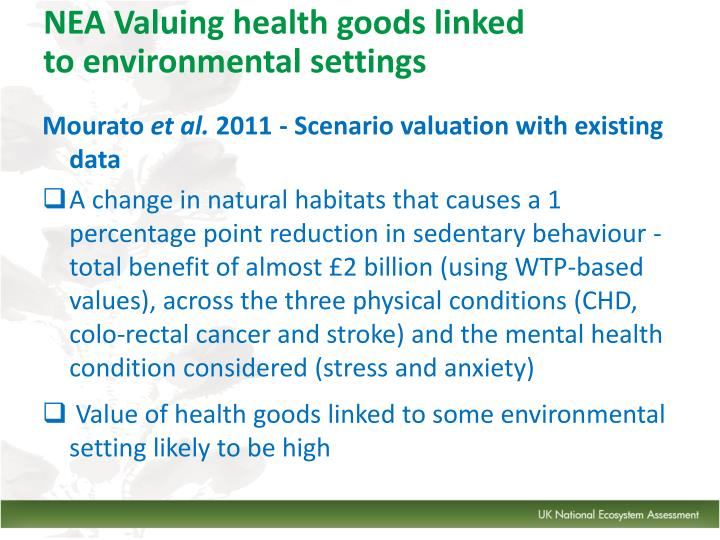 NEA Valuing health goods linked to environmental settings