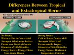 differences between tropical and extratropical storms