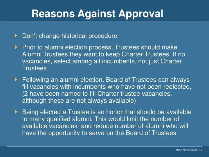 Reasons Against Approval