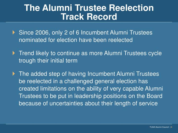 The Alumni Trustee Reelection