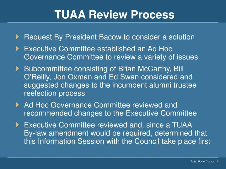 TUAA Review Process