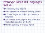 prototype based oo languages self etc