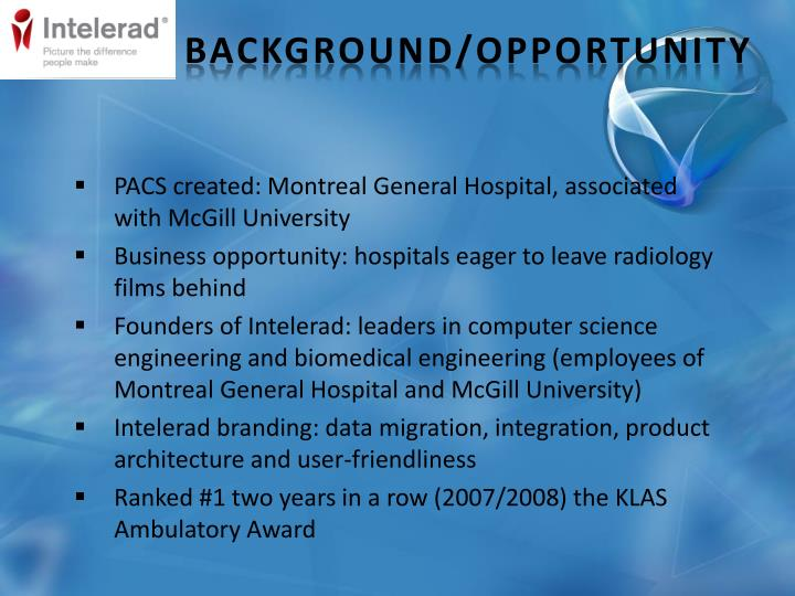 PACS created: Montreal General Hospital, associated with McGill University