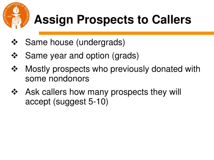 Assign Prospects to Callers