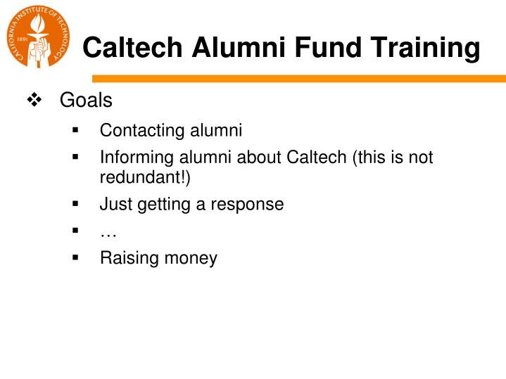 Caltech alumni fund training1