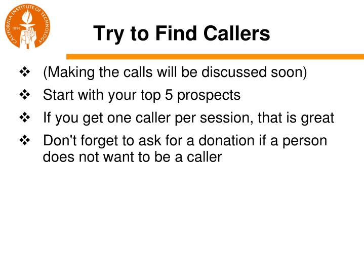 Try to Find Callers