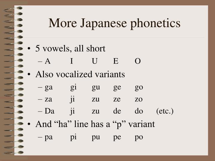 More japanese phonetics