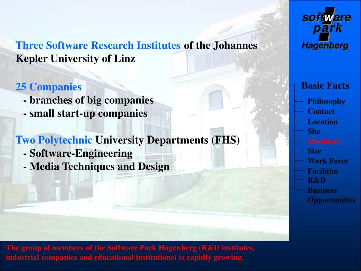 Three Software Research Institutes