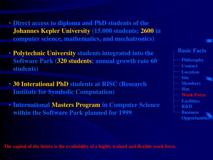 Direct access to diploma and PhD students of the