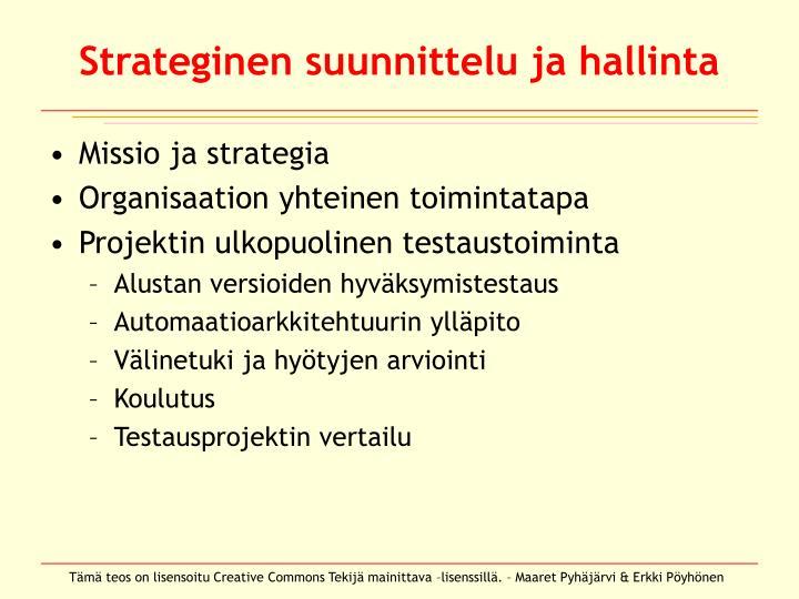 Strateginen suunnittelu ja hallinta