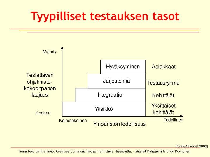 Tyypilliset testauksen tasot