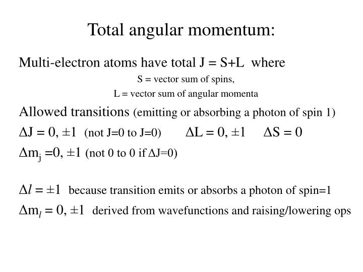 Total angular momentum: