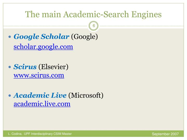 The main Academic-Search Engines