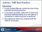 activity nrf best practices