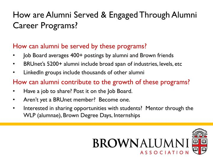 How are Alumni Served & Engaged Through Alumni Career Programs?