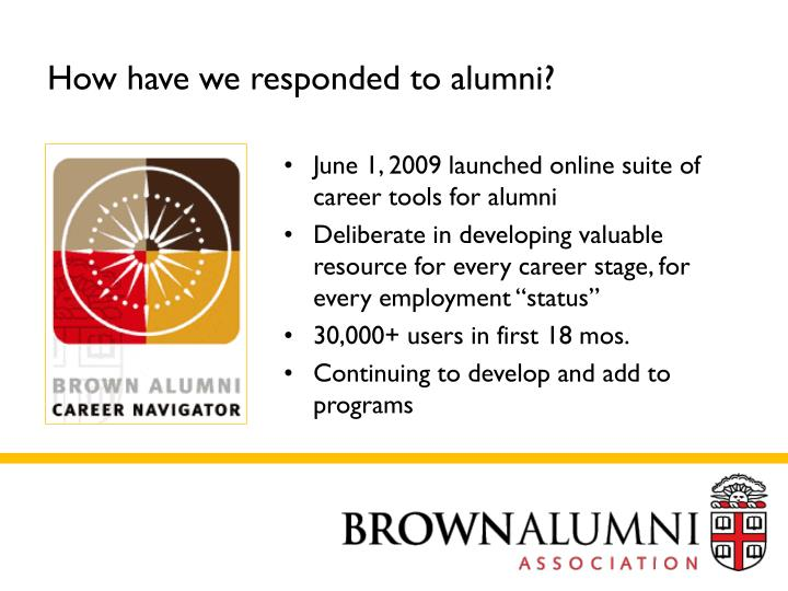 How have we responded to alumni?