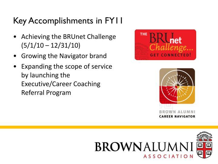 Key Accomplishments in FY11