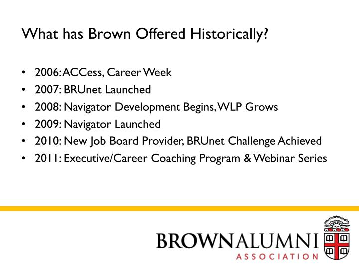 What has Brown Offered Historically?