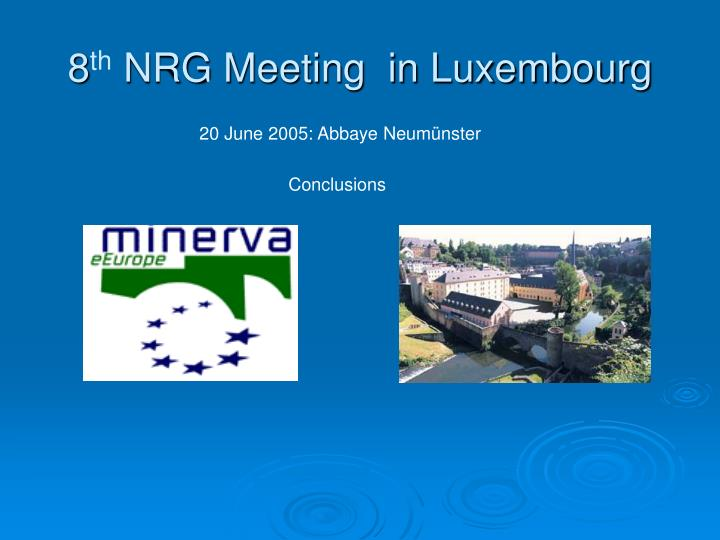 8 th nrg meeting in luxembourg n.