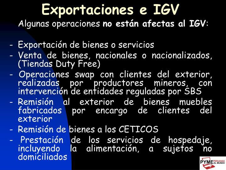 Exportaciones e IGV