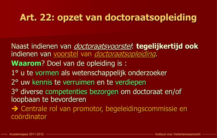 Art 22 opzet van doctoraatsopleiding