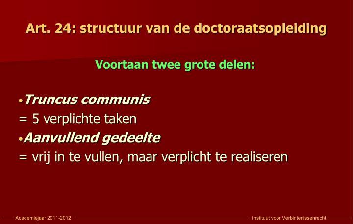 Art. 24: structuur van de doctoraatsopleiding