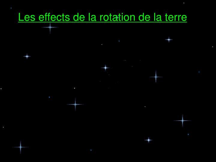 Les effects de la rotation de la terre