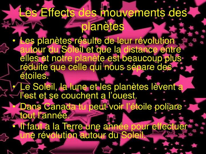 Les Effects des mouvements des planètes