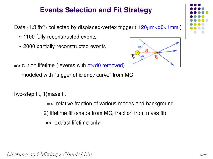 Events Selection and Fit Strategy