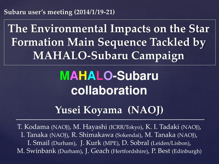The environmental impacts on the star formation main sequence tackled by mahalo subaru campaign