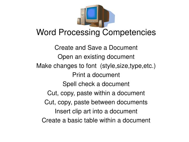 ppt - word processing competencies powerpoint presentation