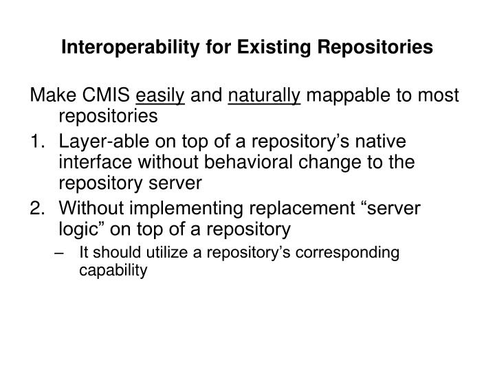 Interoperability for Existing Repositories
