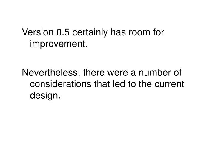 Version 0.5 certainly has room for improvement.