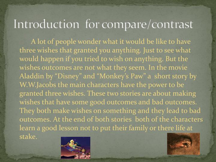 Introduction for compare contrast