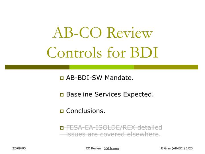 ab co review controls for bdi n.