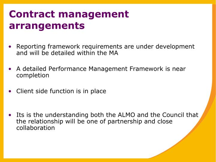 Contract management arrangements