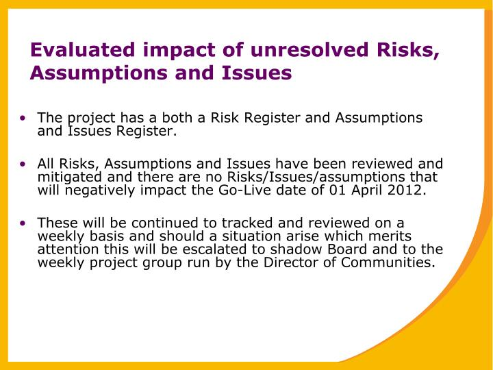 Evaluated impact of unresolved Risks, Assumptions and Issues