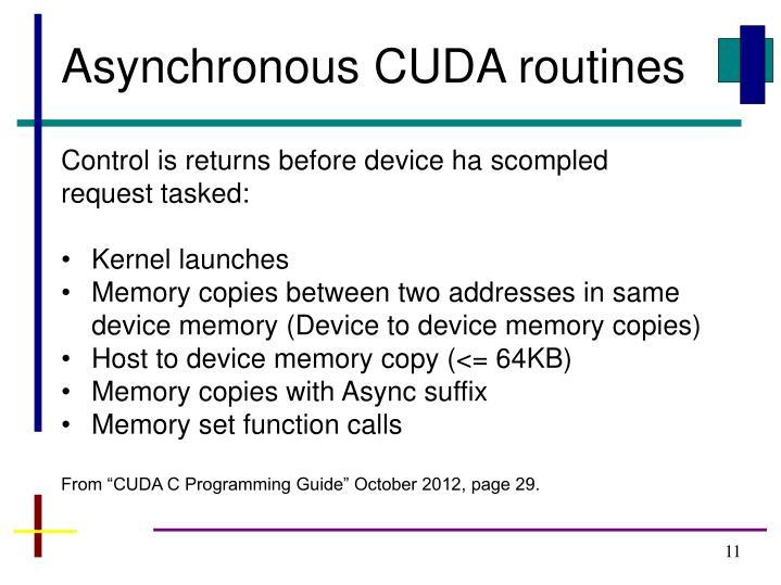 Asynchronous CUDA routines