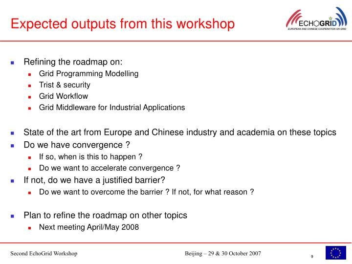 Expected outputs from this workshop