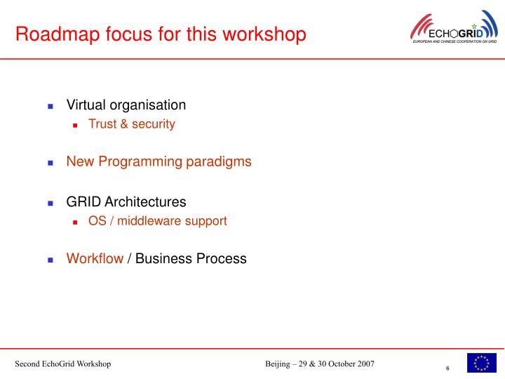 Roadmap focus for this workshop