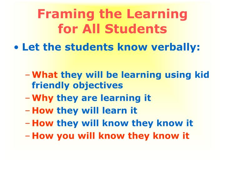 Framing the Learning